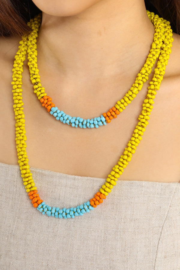 Nilar Bead Column Necklace - Lemon - Our Barehands