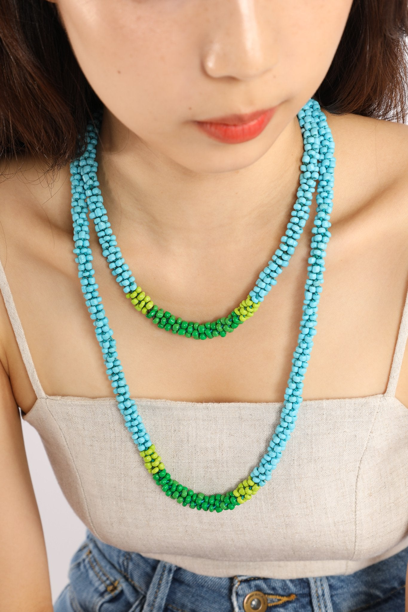 Nilar Bead Column Necklace - Sky - Our Barehands