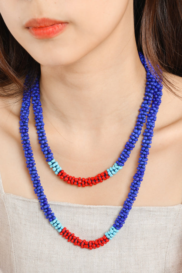 Nilar Bead Column Necklace - Cobalt - Our Barehands