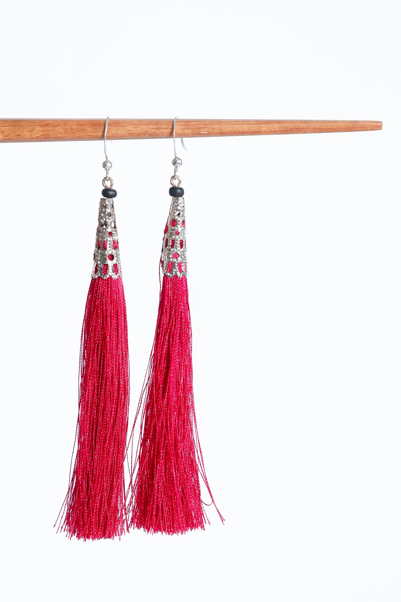 Yadana Arrow Tassel Earrings - Magenta Pink - Our Barehands
