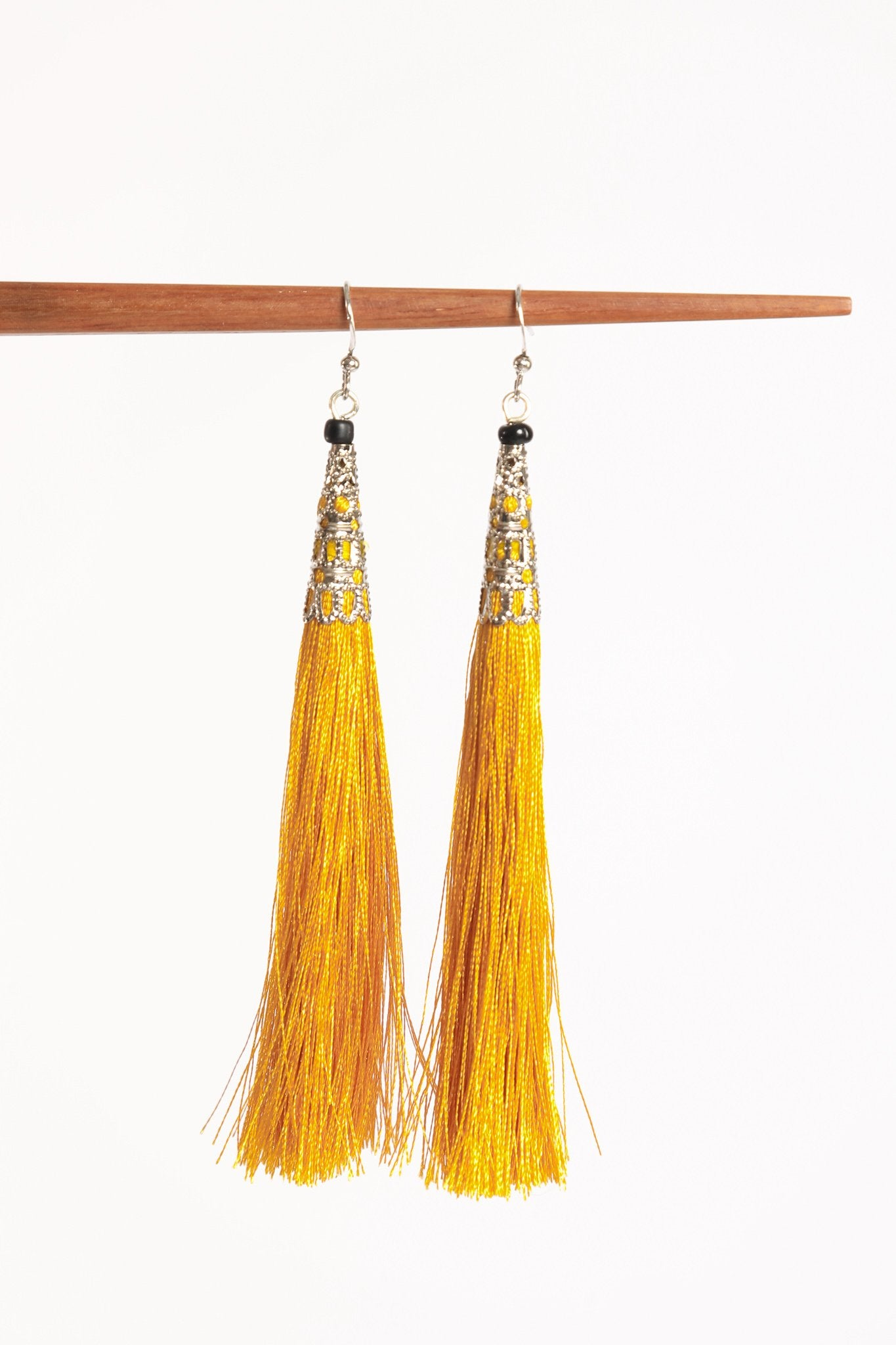Yadana Arrow Tassel Earrings - Mustard Yellow - Our Barehands