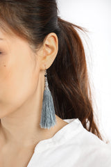 Yadana Arrow Tassel Earrings - Stone Grey - Our Barehands