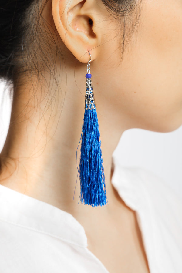 Yadana Arrow Tassel Earrings - Cobalt Blue - Our Barehands
