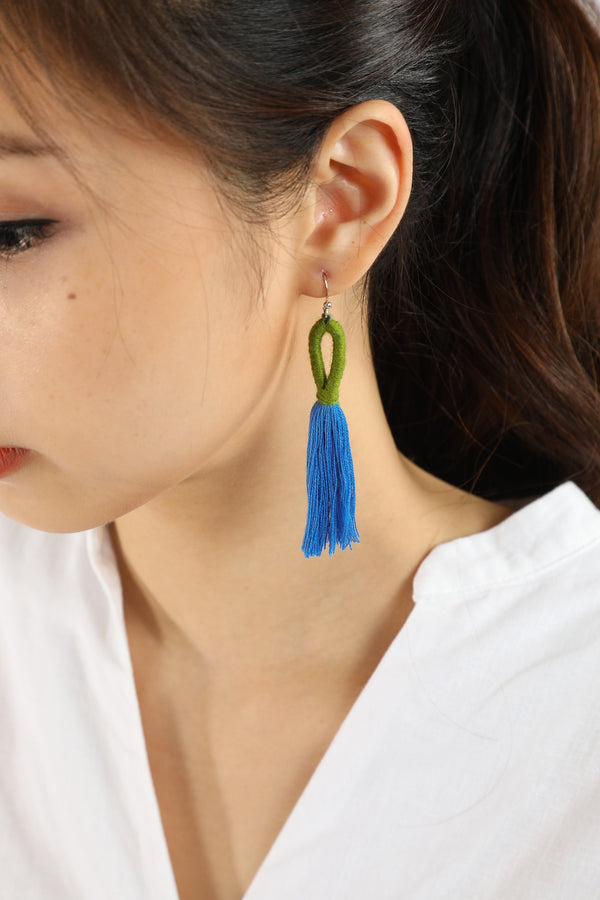 Nanda Hoop Tassel Earrings - Cornflower Blue - Our Barehands