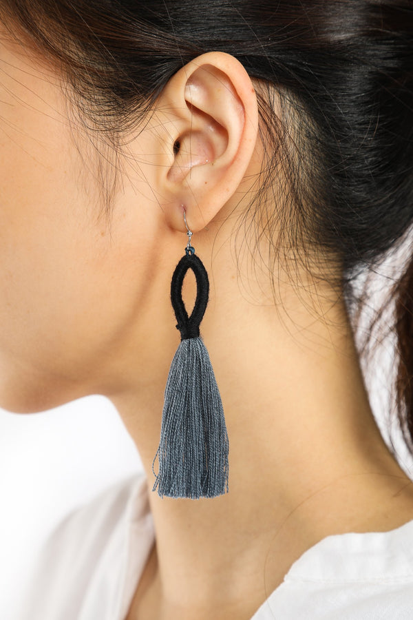 Nanda Hoop Tassel Earrings - Charcoal Grey - Our Barehands