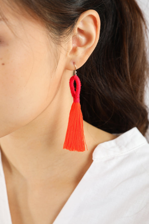 Nanda Hoop Tassel Earrings - Fiery Orange - Our Barehands