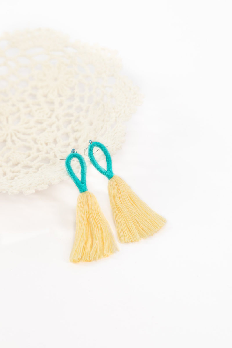 Nanda Hoop Tassel Earrings - Egg Cream - Our Barehands