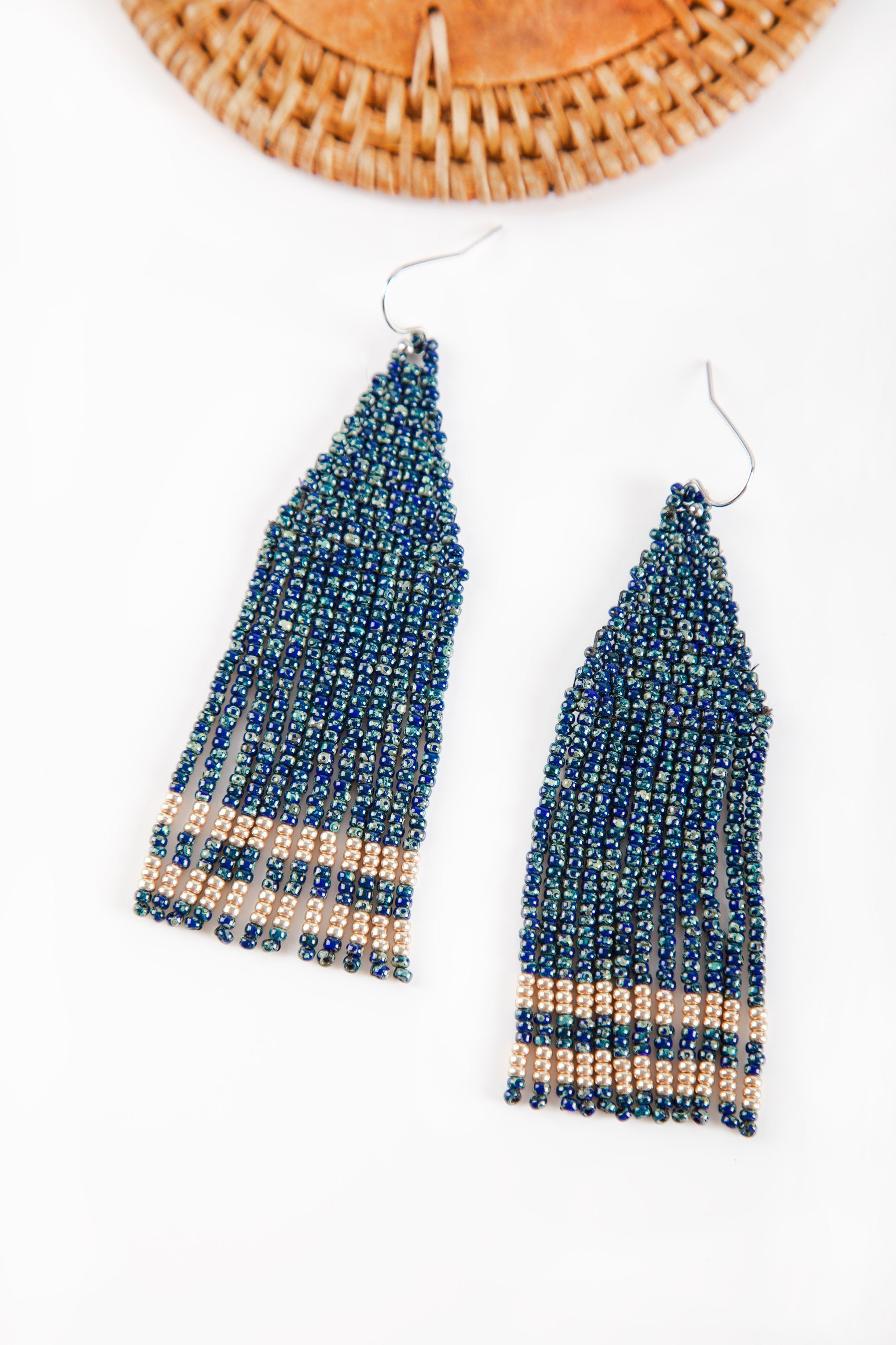 Zola Beaded Earrings - Midnight Blue with Gold - Our Barehands