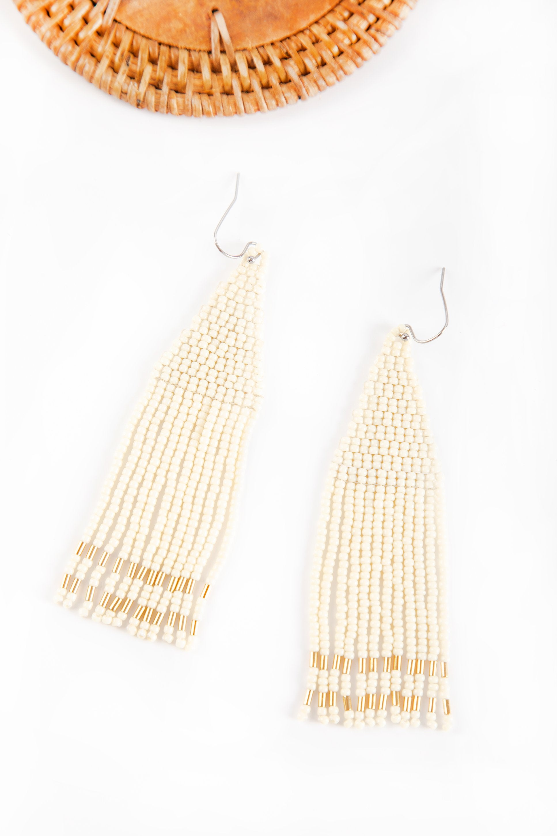 Zeel Beaded Earrings - Ivory Gold Pipe - Our Barehands