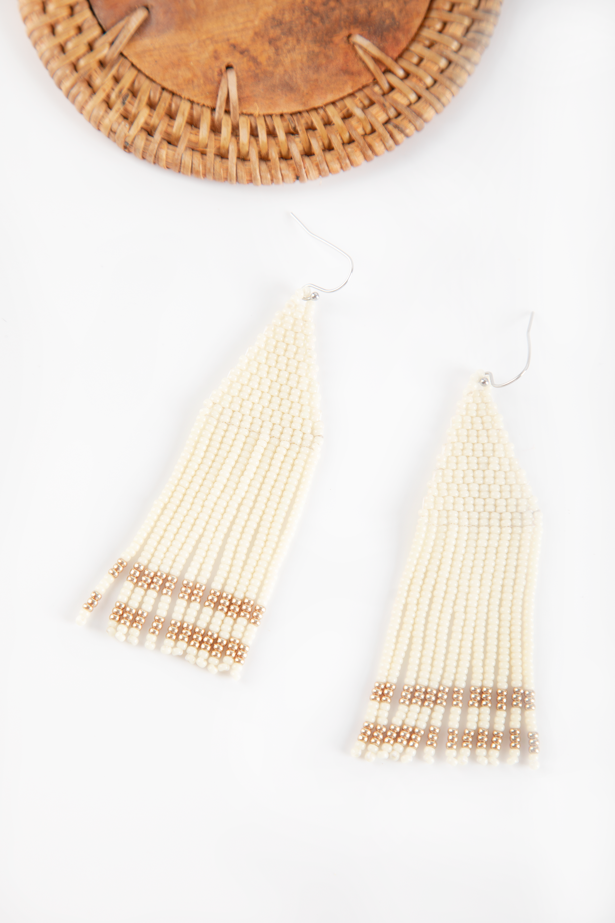 Zola Beaded Earrings - Ivory with Gold - Our Barehands