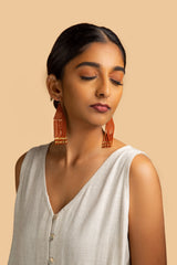 Zeel Beaded Earrings - Terracotta Gold Pipe - Our Barehands