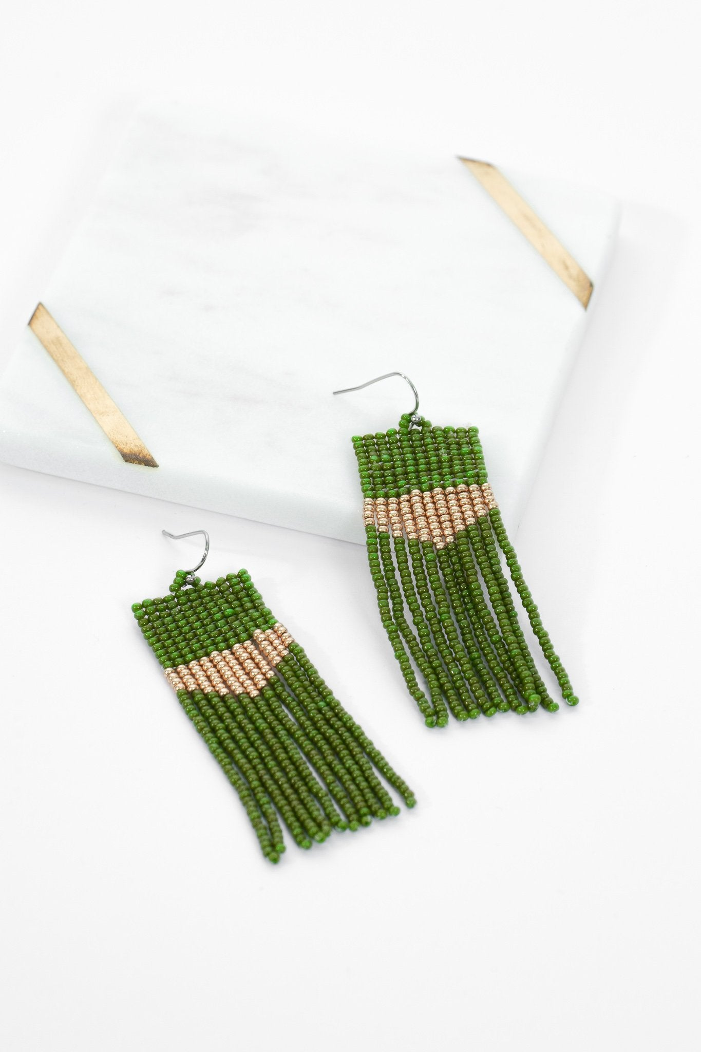 Sarita Beaded Earrings - Olive Dust - Our Barehands