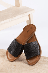 Open Toe Slides - Polished Black - Our Barehands