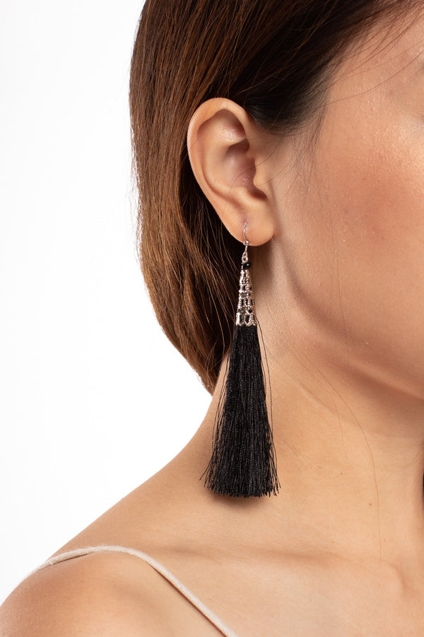 Yadana Arrow Tassel Earrings - Jet Black - Our Barehands