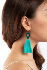 Nanda Hoop Tassel Earrings - Turquoise Blue - Our Barehands