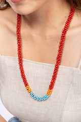 Nilar Bead Column Necklace - Goji Red - Our Barehands
