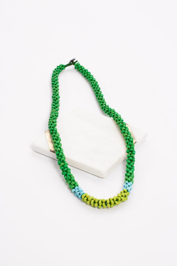 Nilar Bead Column Necklace - Pea - Our Barehands