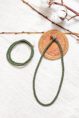 Hand-knotted Rope Necklace & Bracelet - Olive - Our Barehands