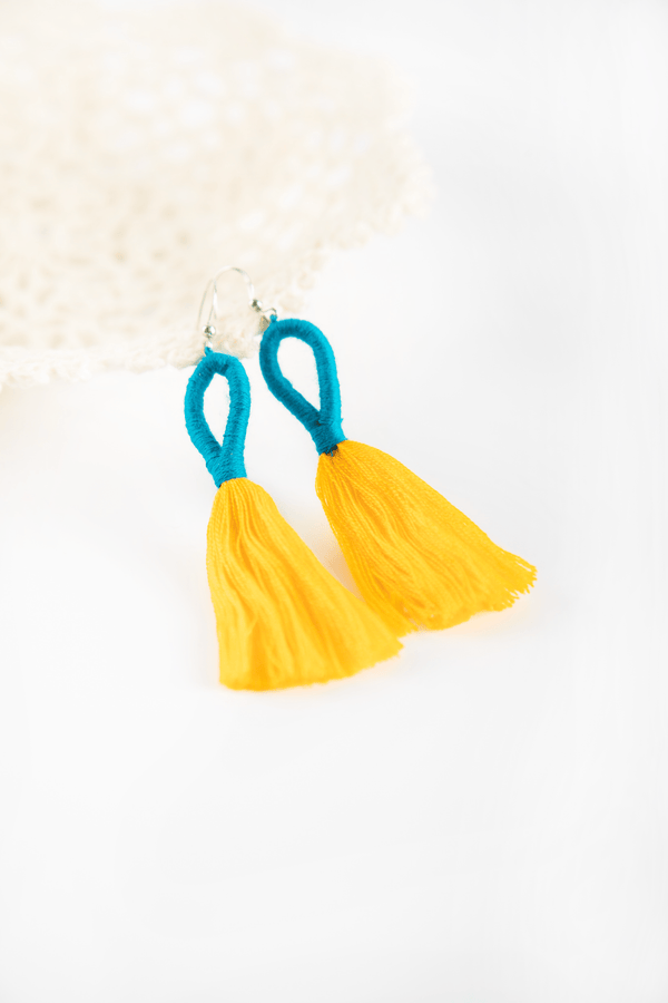 Nanda Hoop Tassel Earrings - Lemon Lapis - Our Barehands