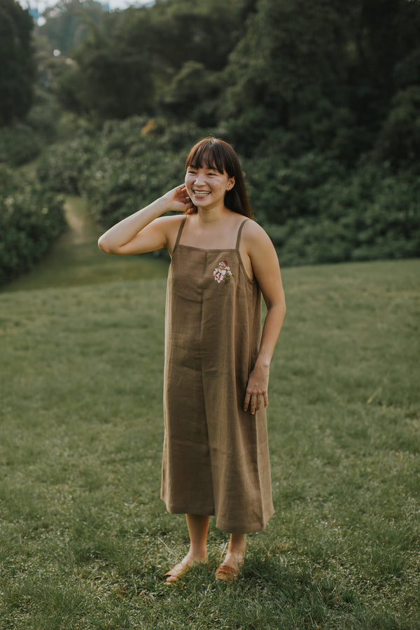 Hope: Meadow Midi Dress by Naked Works (Young Olive)