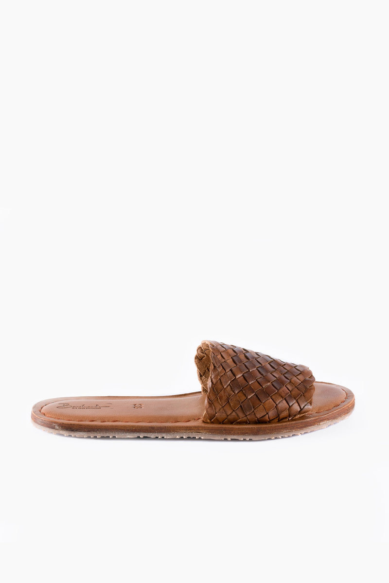 Open Toe Slides - Oiled Dark Brown Leather - Our Barehands