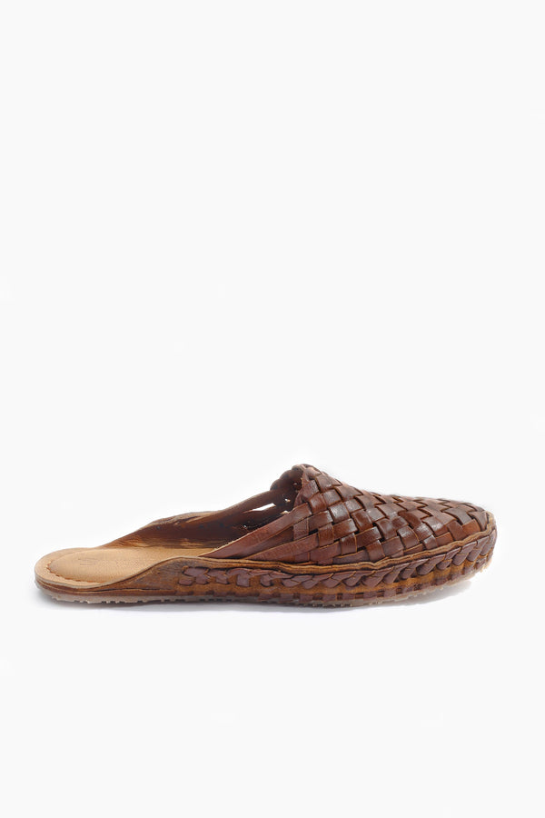 Puspak Woven Slides - Oiled Dark Brown Leather - Our Barehands