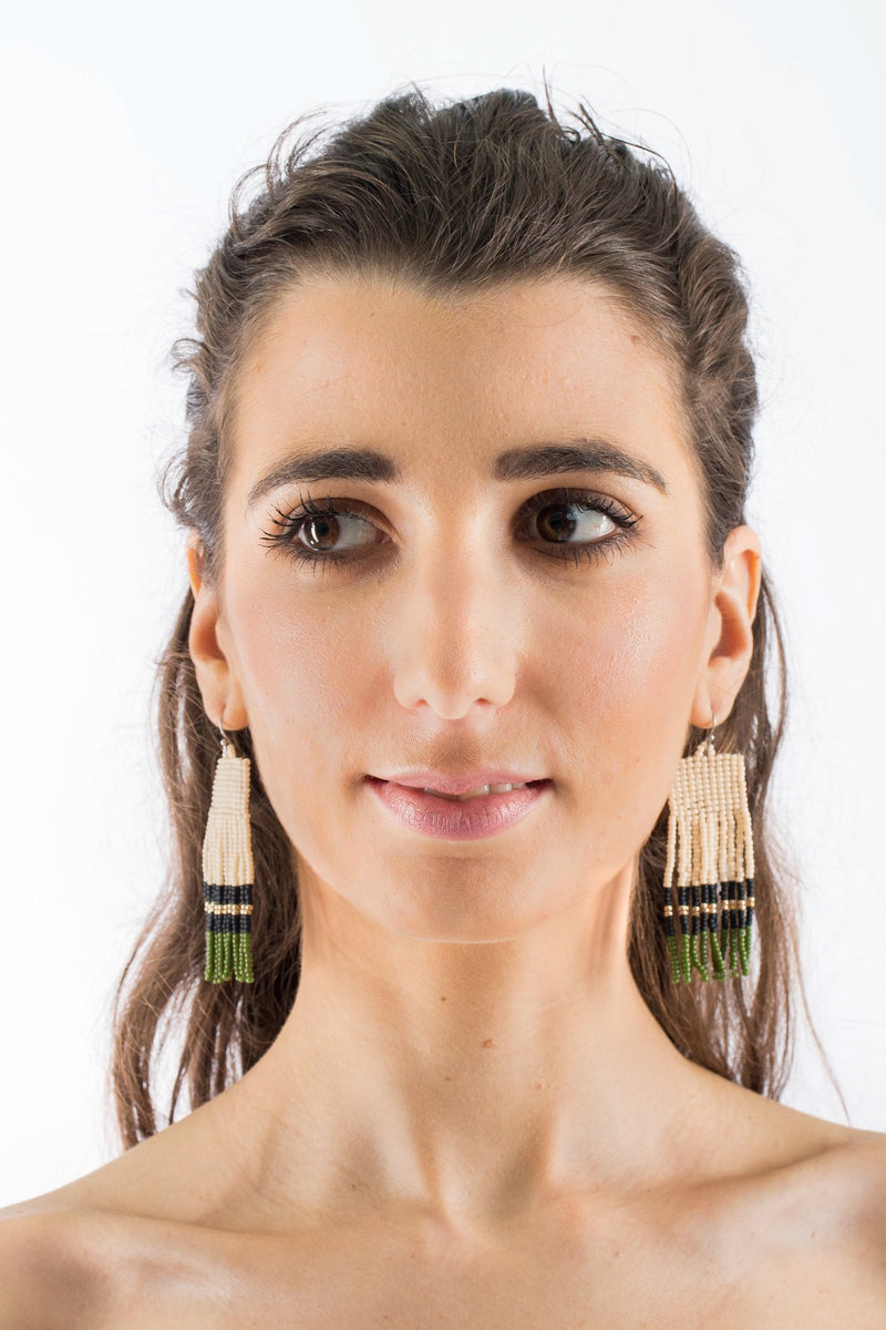Sarita Beaded Earrings - Olive Frills - Our Barehands
