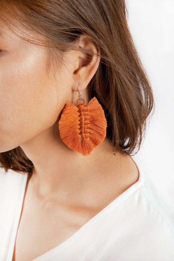 Sandar Leaf Earrings - Burnt Orange - Our Barehands
