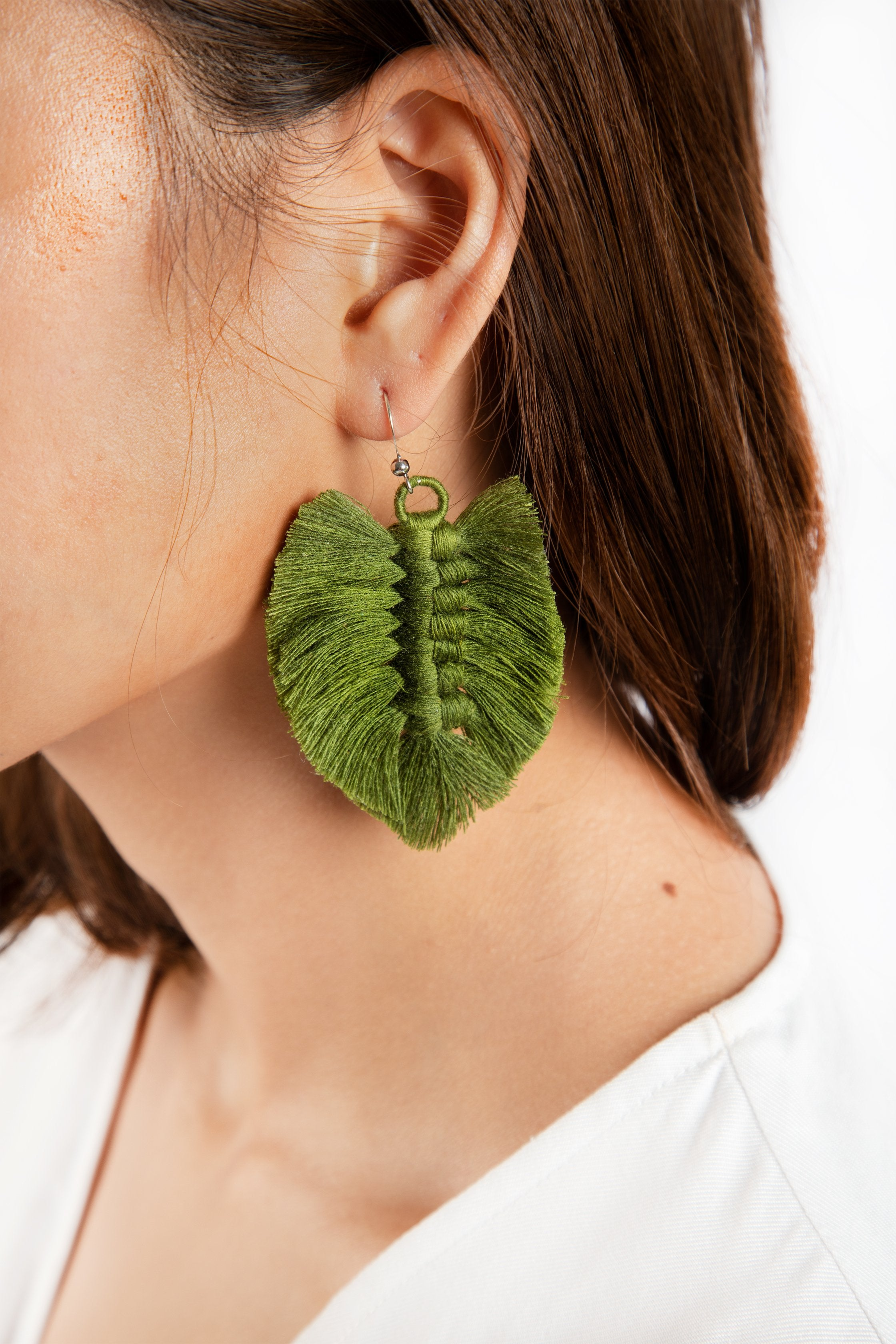 Sandar Leaf Earrings - Moss Green - Our Barehands