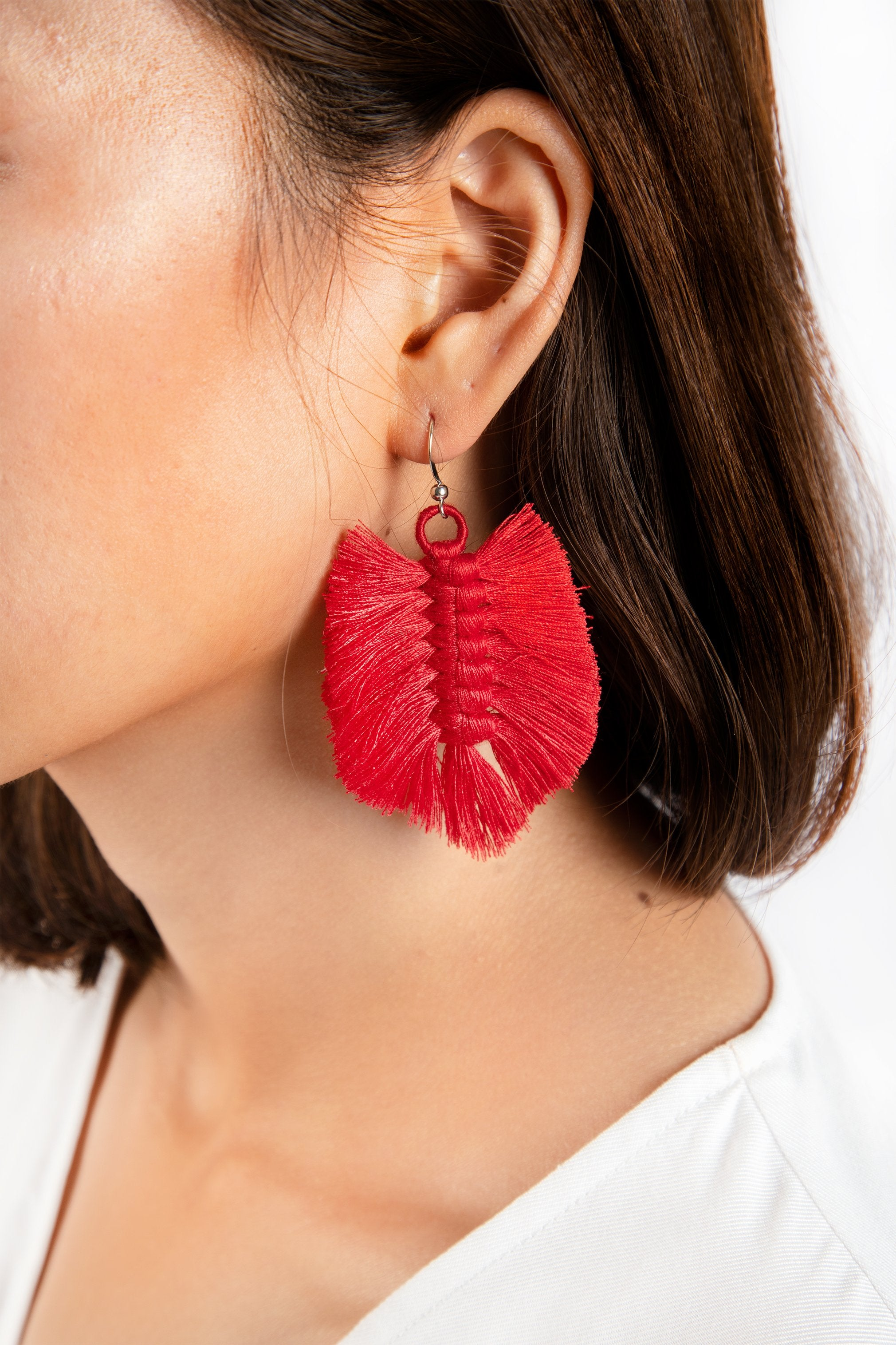 Sandar Leaf Earrings - Raspberry - Our Barehands