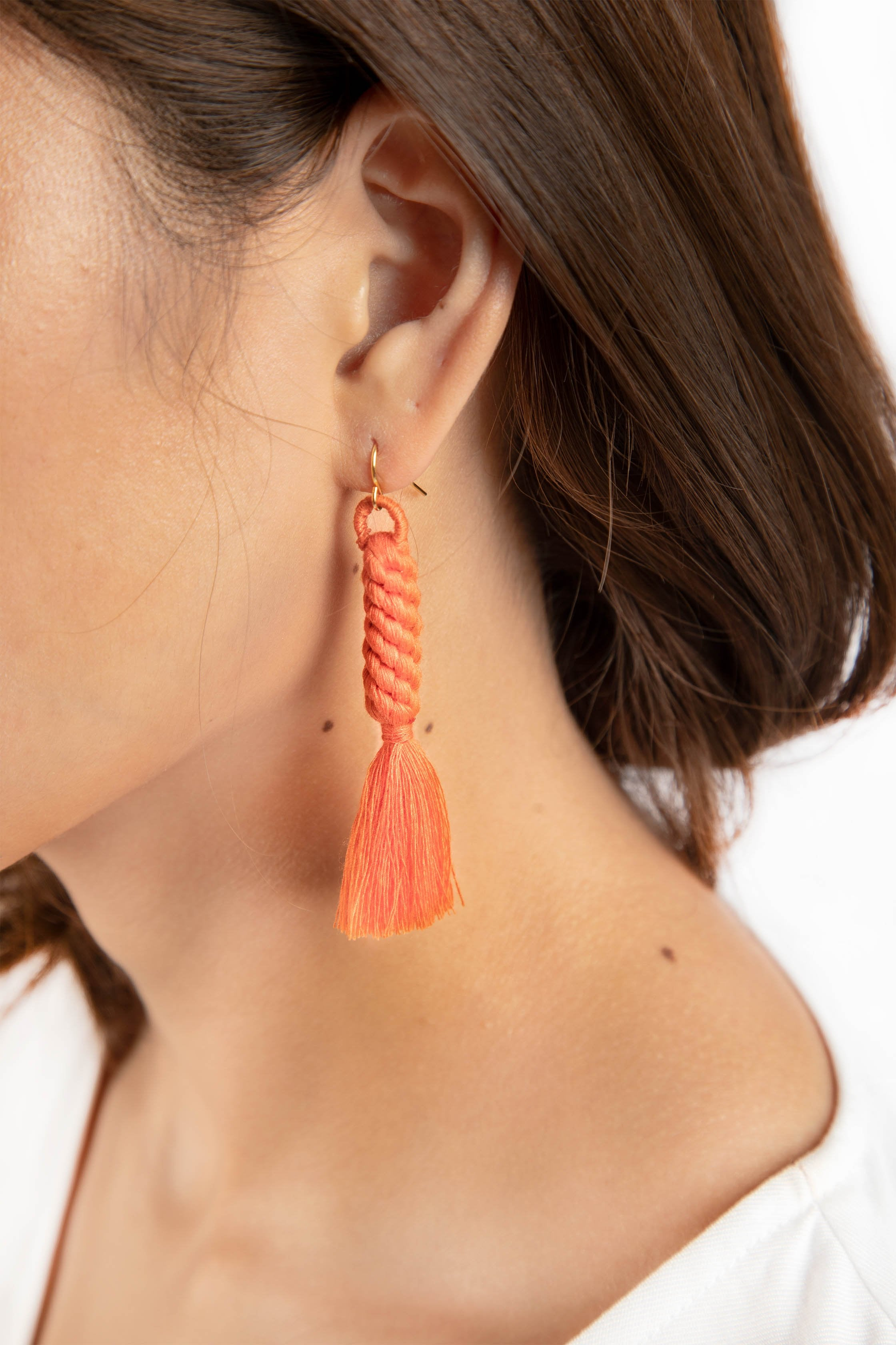 Shan Braid Earrings - Salmon - Our Barehands
