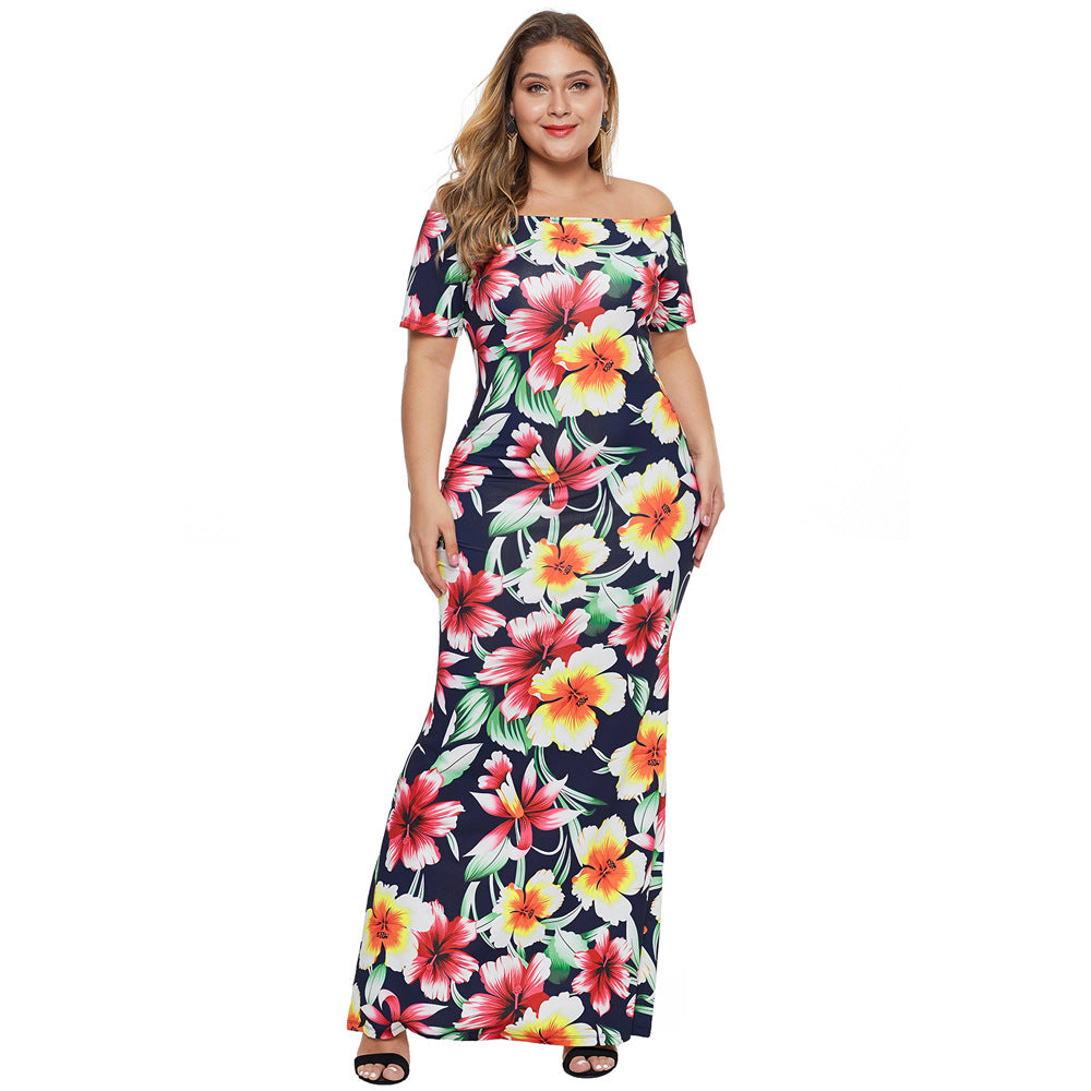Plus Size long skirt printed short-sleeved one-neck dress