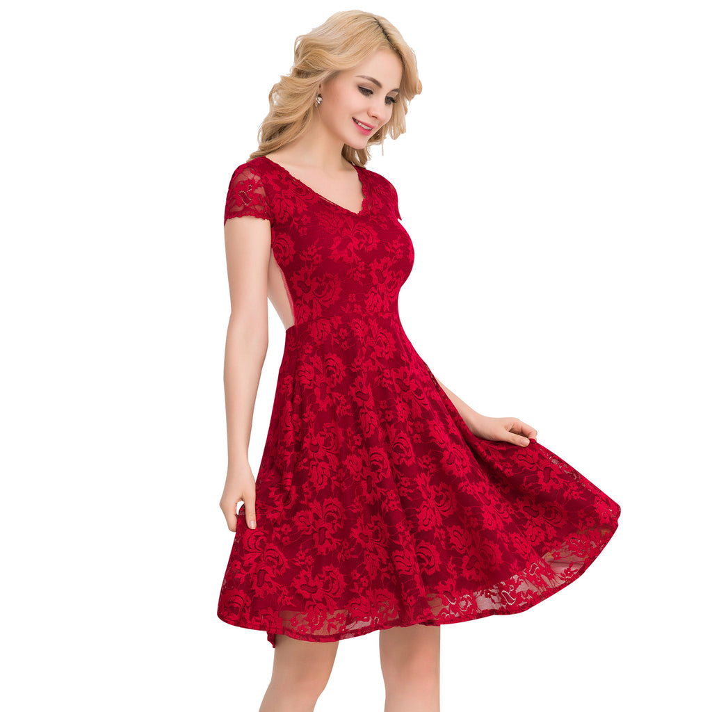 Fashion lace temperament slimming dress