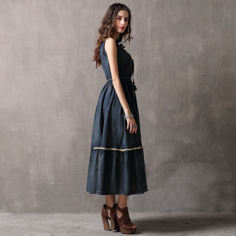 a line denim skirt lace waist vest dress