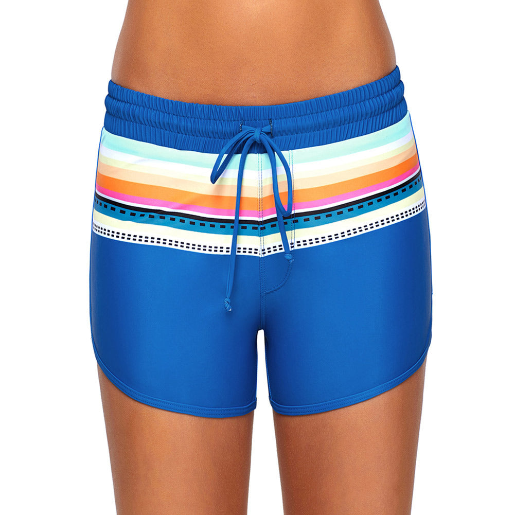 High-waist lace-up print with triangle-lined beach four-legged swim trunks