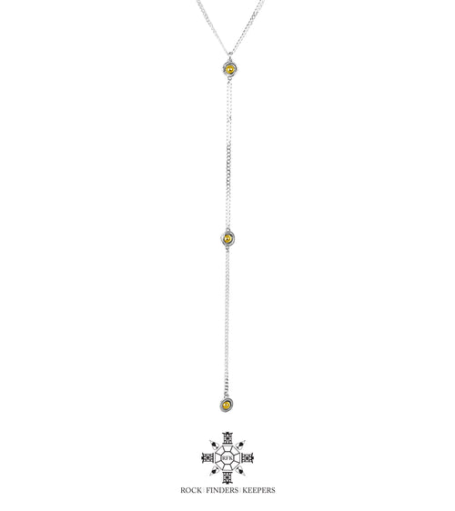 Rock Finders Keepers | Atticus Tri Feature Lariet Necklace - Long | Polished Gold Detail | VOULT.COM.AU