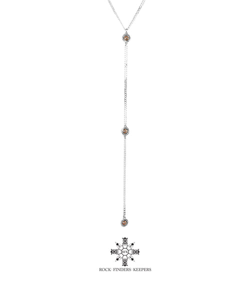 Rock Finders Keepers | Atticus Tri Feature Lariet Necklace - Long | Polished Rose Detail | VOULT.COM.AU