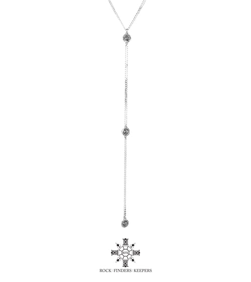 Rock Finders Keepers | Atticus Tri Feature Lariet Necklace - Long | Polished Silver Detail | VOULT.COM.AU