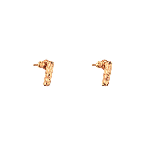 Rock Finders Keepers | Alexa Fine Hammered Bar Stud Earrings - Rose | VOULT.COM.AU