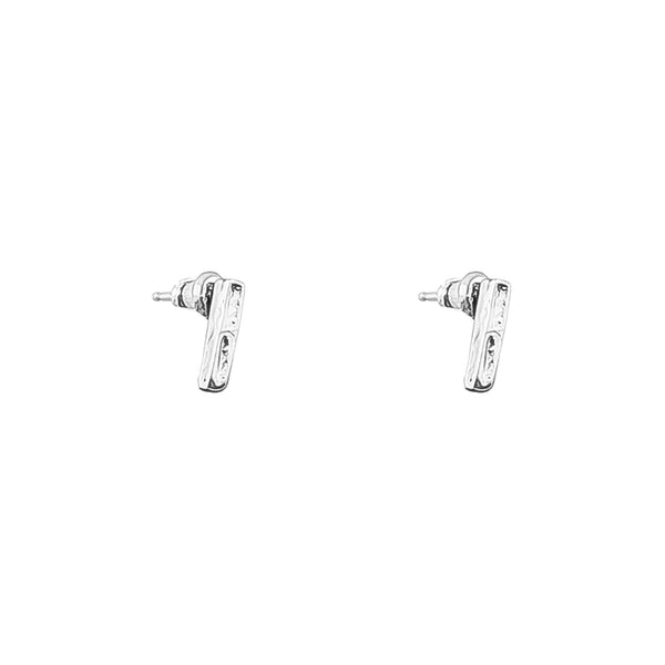 Rock Finders Keepers | Alexa Fine Hammered Bar Stud Earrings - Silver | VOULT.COM.AU