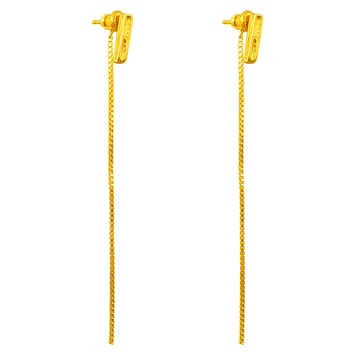 Rock Finders Keepers | Alexa Fine Hammered Bar Stud Earrings With Chain Detail - Gold | VOULT.COM.AU