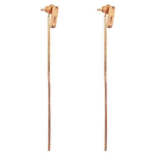 Rock Finders Keepers | Alexa Fine Hammered Bar Stud Earrings With Chain Detail - Rose | VOULT.COM.AU