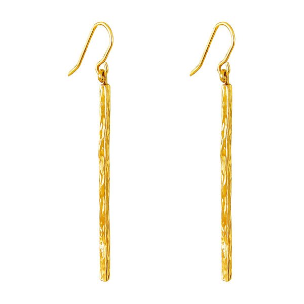 Rock Finders Keepers | Alexa Hammered Bar Earrings - Gold | VOULT.COM.AU