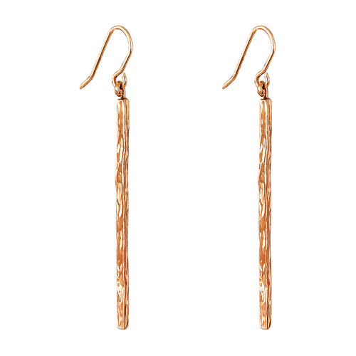 Rock Finders Keepers | Alexa Hammered Bar Earrings - Rose | VOULT.COM.AU
