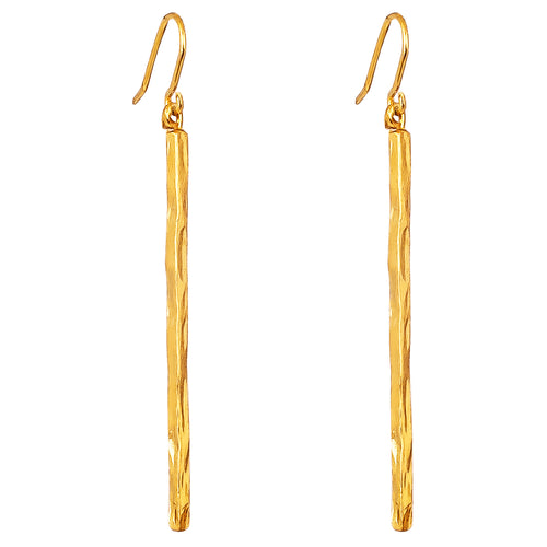 Rock Finders Keepers | Alexa Long Hammered Bar Earrings - Gold | VOULT.COM.AU