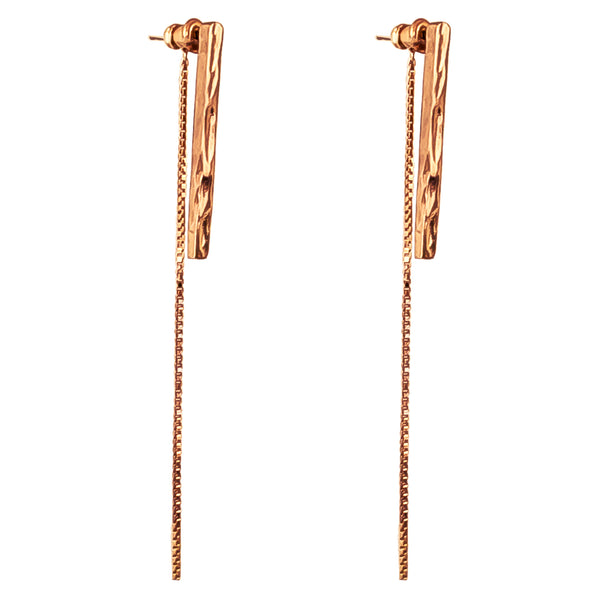 Rock Finders Keepers | Alexa Long Hammered Bar Stud Earrings With Chain Detail - Rose | VOULT.COM.AU