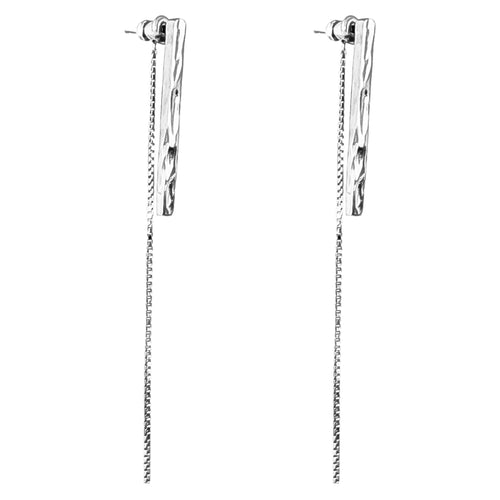 Rock Finders Keepers | Alexa Long Hammered Bar Stud Earrings With Chain Detail - Silver | VOULT.COM.AU