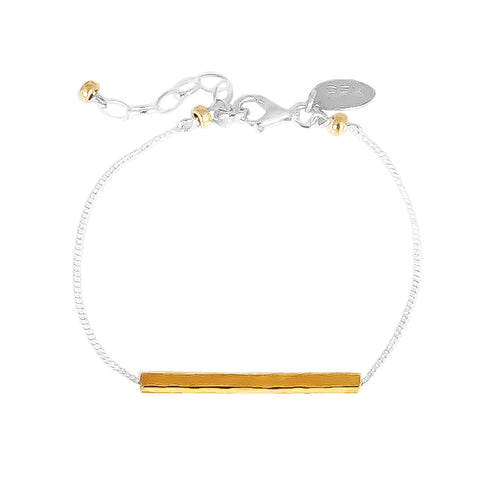Rock Finders Keepers | Alexis Fine Hammered Bar Bracelet - Gold Bar And Detail | VOULT.COM.AU