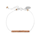 Rock Finders Keepers | Alexis Fine Hammered Bar Bracelet - Rose Bar And Detail | VOULT.COM.AU