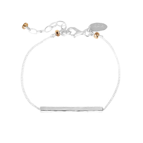 Rock Finders Keepers | Alexis Fine Hammered Bar Bracelet - Silver Bar And Rose Detail | VOULT.COM.AU